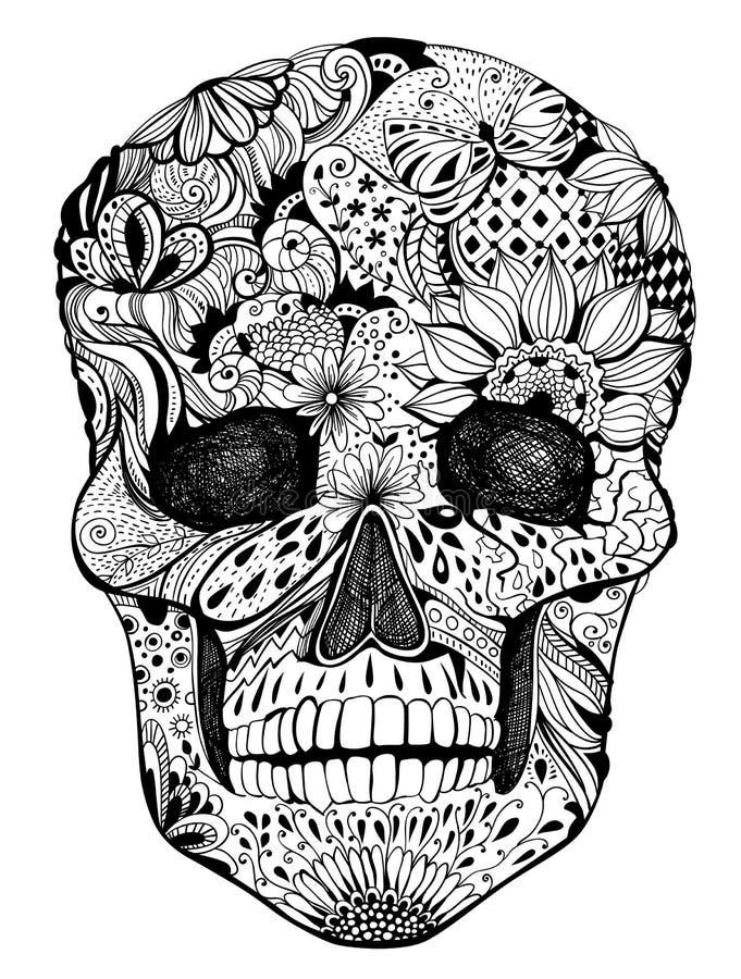 Cráneo floral stock de ilustración