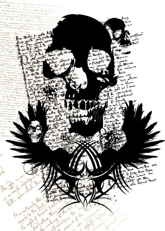 Cráneo gótico ilustración del vector
