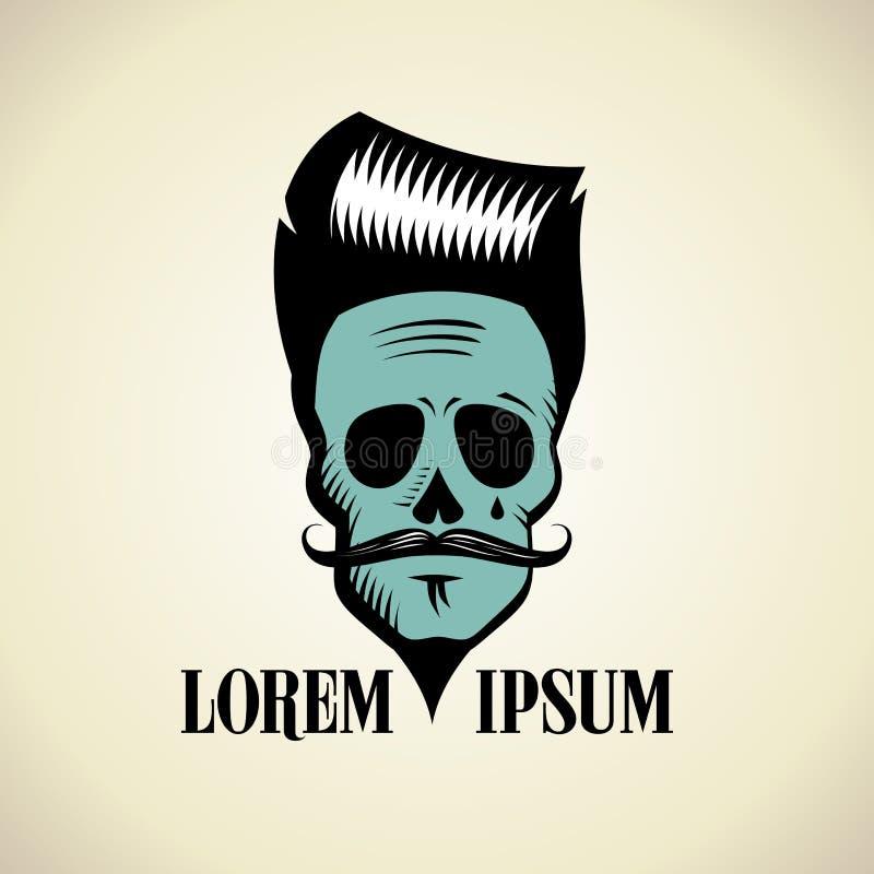 Cráneo gráfico con el peinado y el bigote del inconformista ilustración del vector
