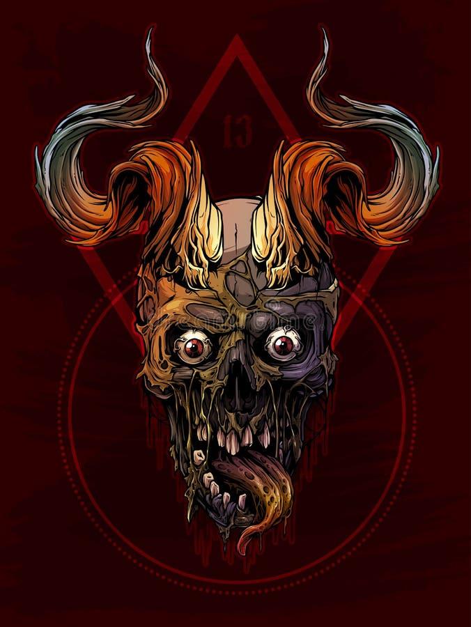 Cráneo humano colorido gráfico con los cuernos de toro ilustración del vector