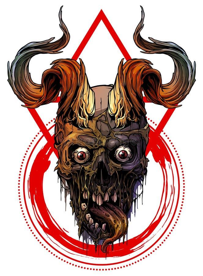 Cráneo humano colorido gráfico con los cuernos de toro libre illustration