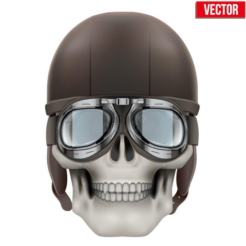 Cráneo humano con el casco retro del aviador o del motorista ilustración del vector