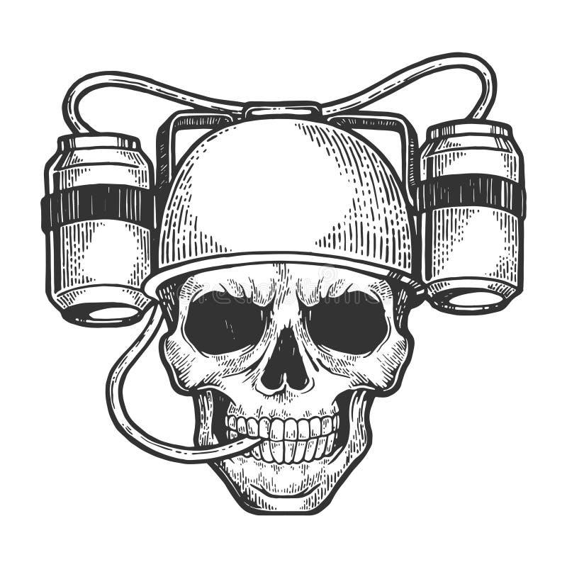 Cráneo humano con el grabado del bosquejo del casco de la soda de la cerveza ilustración del vector