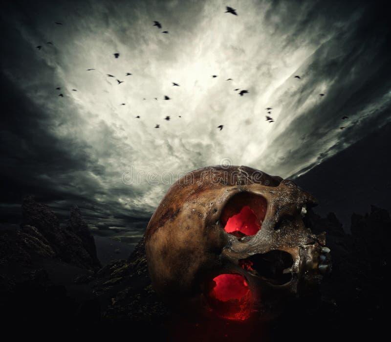 Cráneo humano con los ojos que brillan intensamente fotos de archivo libres de regalías