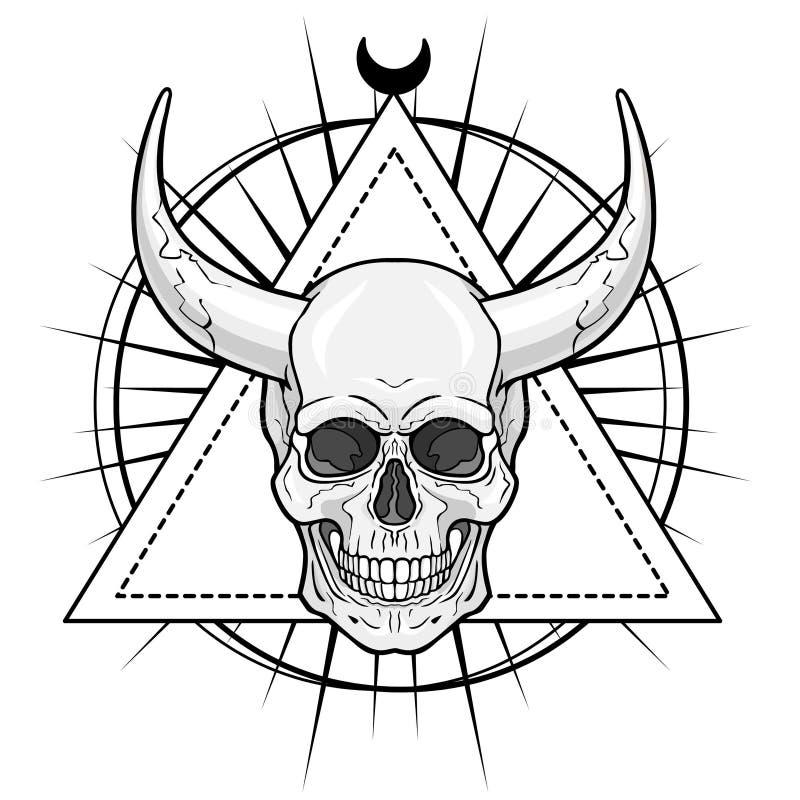 Cráneo humano de cuernos fantástico ilustración del vector