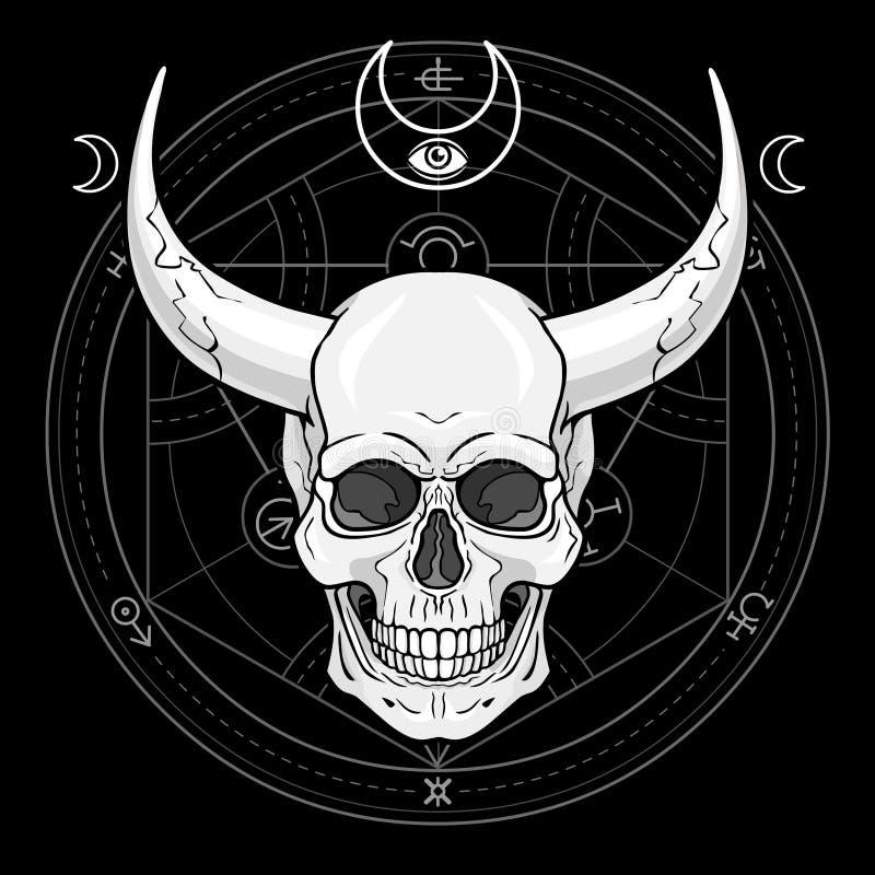 Cráneo humano de cuernos fantástico stock de ilustración