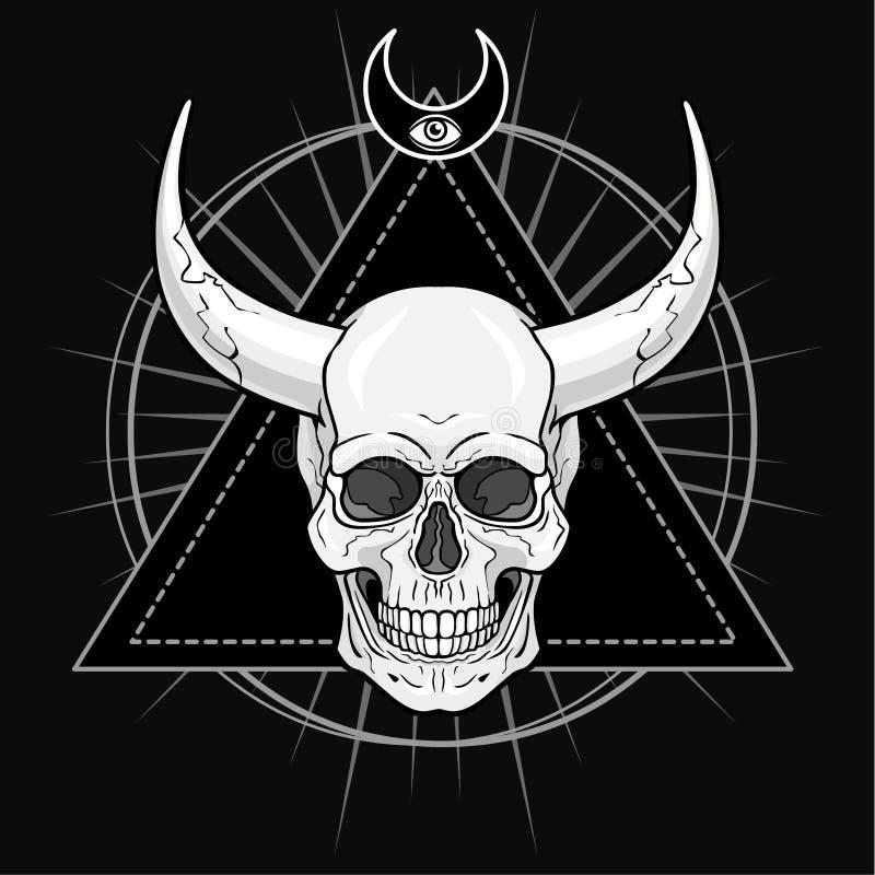 Cráneo humano de cuernos fantástico Demonio, chamán, carácter del cuento de hadas stock de ilustración