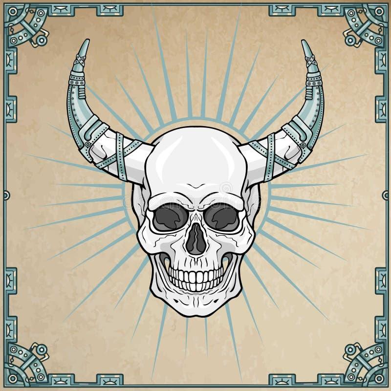 Cráneo humano de cuernos fantástico en armadura del hierro libre illustration