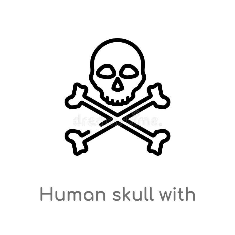 cráneo humano del esquema con el icono cruzado del vector de los huesos l?nea simple negra aislada ejemplo del elemento del conce ilustración del vector
