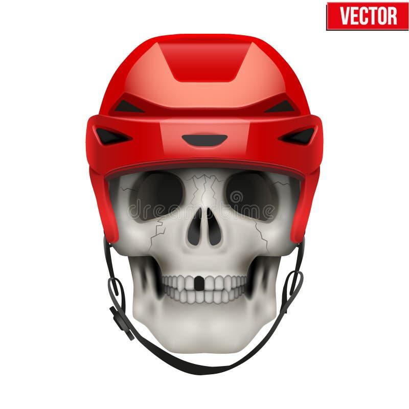 Cráneo Humano Del Vector Con El Casco Del Hockey Sobre Hielo ...