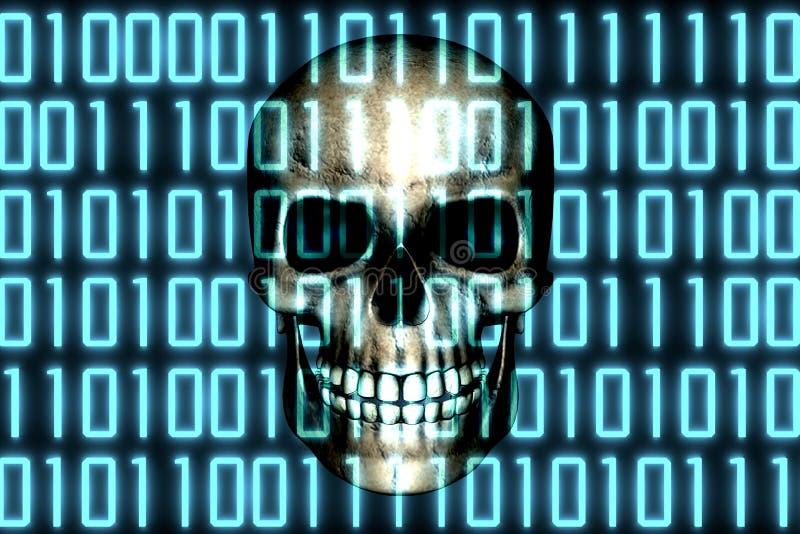Cráneo humano detrás del software digital binario del código Concepto cibernético de la amenaza del virus de Malware libre illustration
