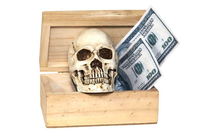 Cráneo humano en caja del tesoro imagen de archivo