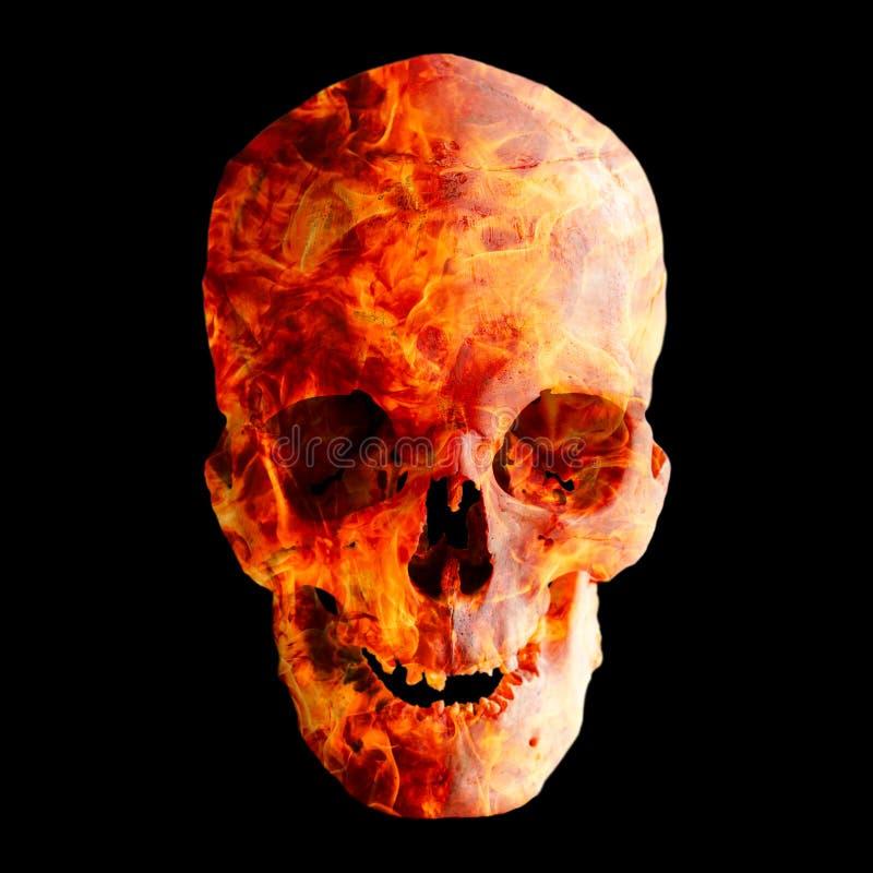 Cráneo humano en llama en fondo oscuro imagen de archivo libre de regalías