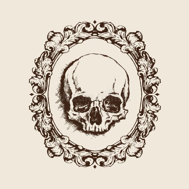 Cráneo Humano En Marco Afiligranado Ilustración Del Vector ...