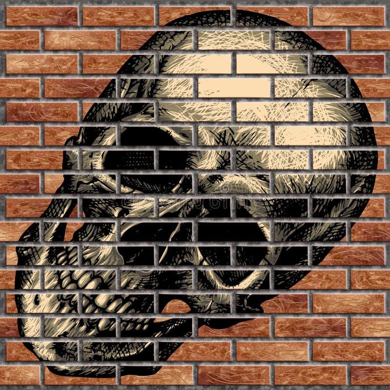 Cráneo humano en una pared de ladrillo imágenes de archivo libres de regalías