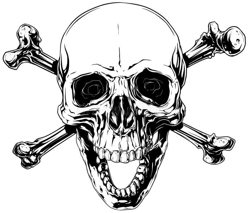 Cráneo Humano Gráfico Con Los Huesos Cruzados Ilustración del Vector ...