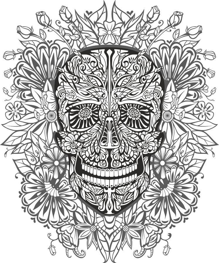 Cráneo humano hecho de flores stock de ilustración