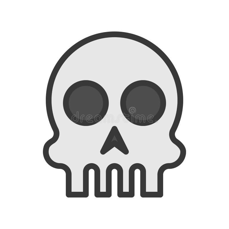 Cráneo humano, movimiento editable del carácter del icono de Halloween ilustración del vector