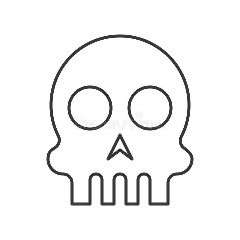 Cráneo humano, movimiento editable del carácter del icono de Halloween stock de ilustración
