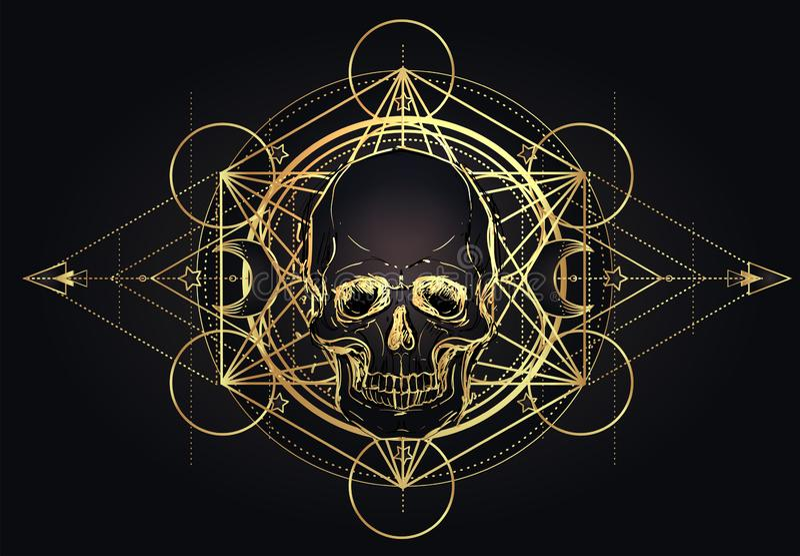 Cráneo humano y Lotus sobre geometría sagrada inspirada mandala Símbolo de Ayurveda de la armonía y de la balanza Diseño de la ca libre illustration
