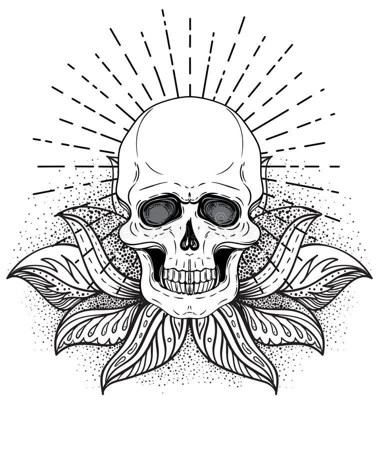 Cráneo humano y Lotus sobre geometría sagrada inspirada mandala Símbolo de Ayurveda de la armonía y de la balanza Diseño de la ca stock de ilustración