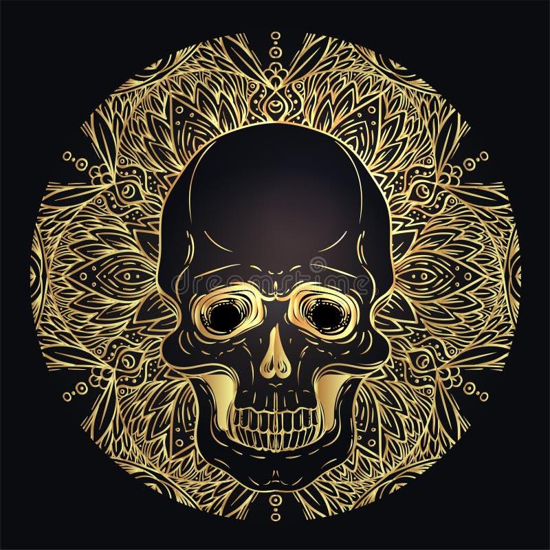 Cráneo humano y Lotus sobre geometría sagrada inspirada mandala Símbolo de Ayurveda de la armonía y de la balanza Diseño de la ca ilustración del vector