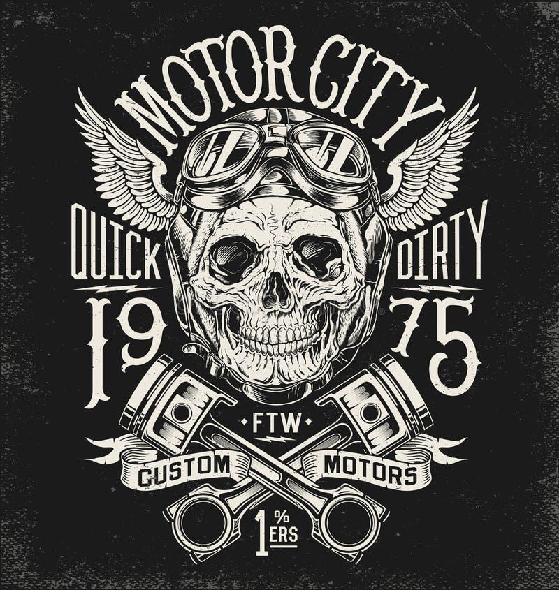 Cráneo ilustrado de la motocicleta con el casco y las gafas Disposición de la tipografía del vintage ilustración del vector