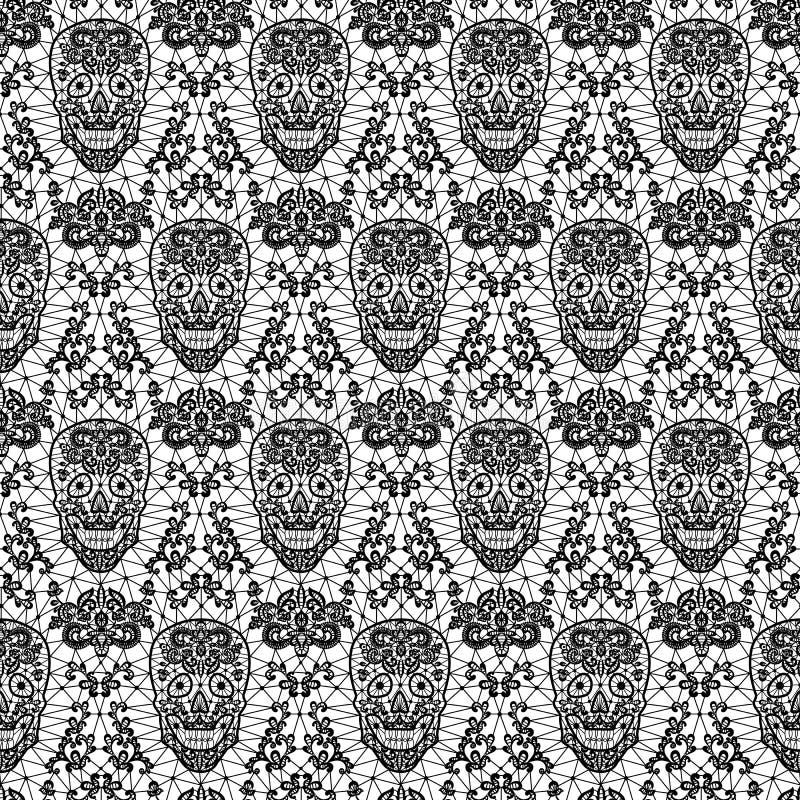 Cráneo inconsútil negro del cordón libre illustration