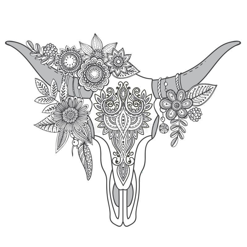 Cráneo indio decorativo del toro con el ornamento, las flores y l étnicos libre illustration