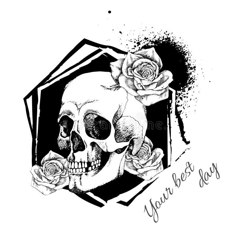 Cráneo interesante con las flores Pintado, brillante y atractivo libre illustration