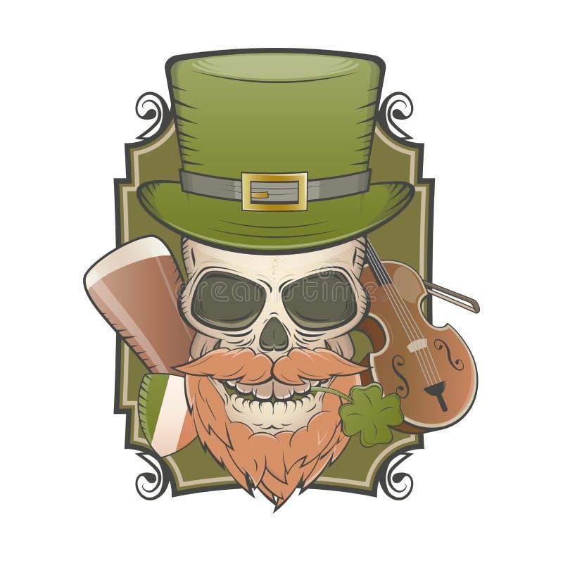 Cráneo irlandés del vintage ilustración del vector