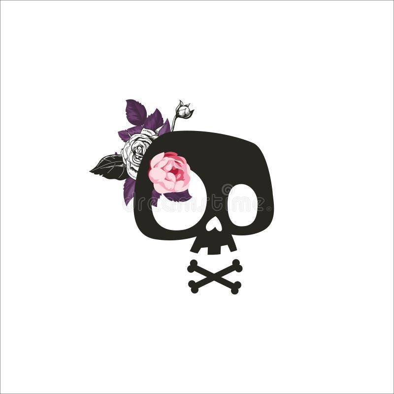 Cráneo lindo de la historieta adornado con las flores color de rosa Cráneo estilizado, impresión de la camiseta, muestra del crán ilustración del vector