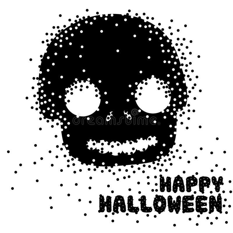 Cráneo lindo enrrollado del azúcar por una estación del feliz Halloween ilustración del vector