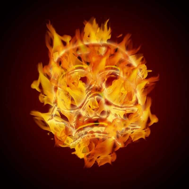 Cráneo llameante ardiendo del fuego stock de ilustración