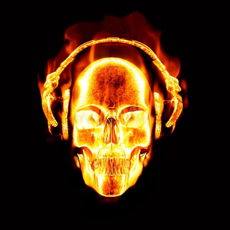 Cráneo llameante con los auriculares ilustración del vector