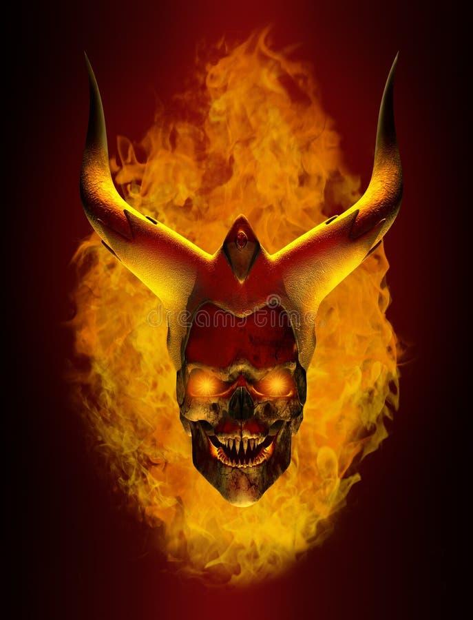 Cráneo llameante de cuernos del demonio stock de ilustración