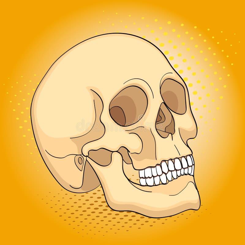 Cráneo médico del ser humano de los objetos del arte pop Imitación del estilo del cómic stock de ilustración