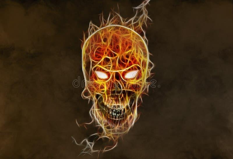 Cráneo malvado colorido abstracto que brilla intensamente artístico en un fondo ahumado fotografía de archivo