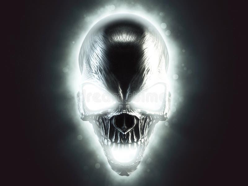 Cráneo malvado de griterío del fantasma ilustración del vector
