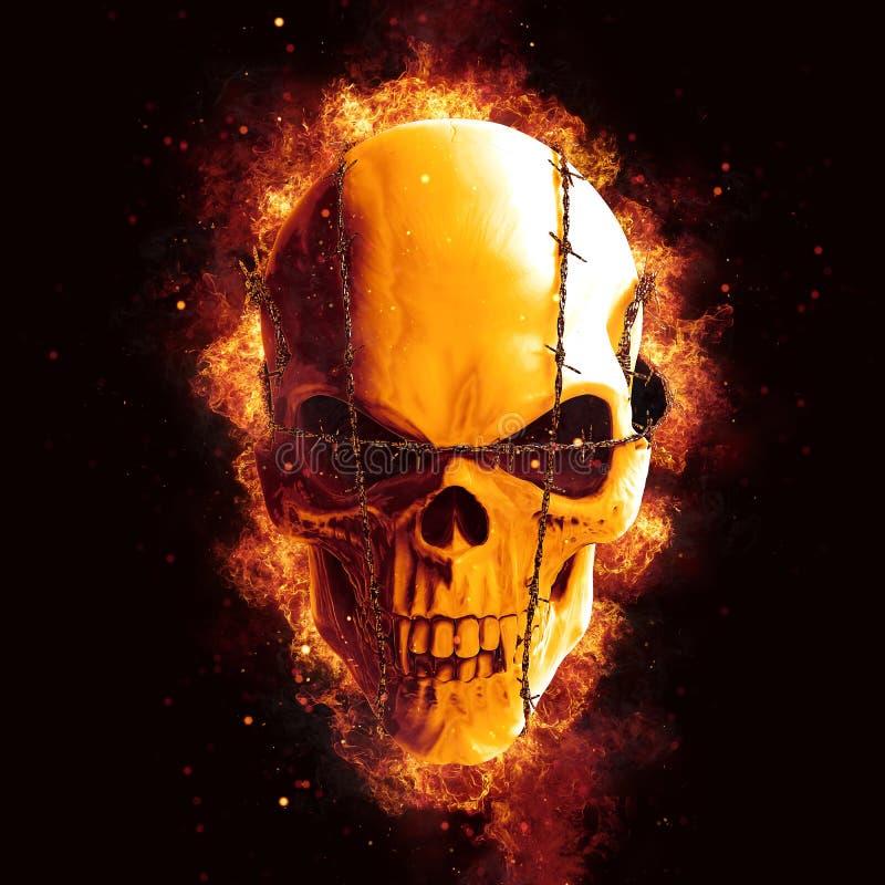 Cráneo malvado del vampiro con el fuego de la lengüeta - explosión stock de ilustración