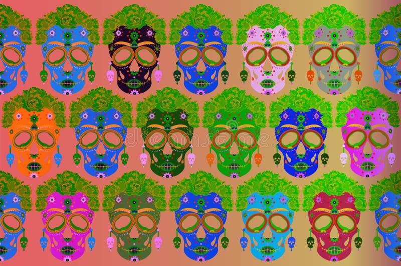 Cráneo mexicano, Calavera con las flores Decoración para el día de los muertos, Dia de los Muertos Fije el fondo del cartel de Ha libre illustration