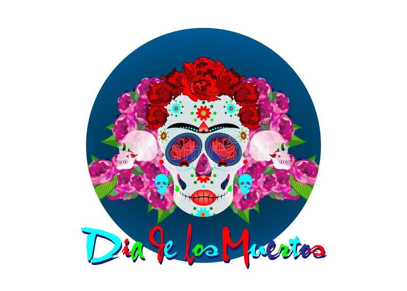 Cráneo mexicano, Calavera con las flores Decoración para el día de los muertos, Dia de los Muertos Fondo del cartel de Halloween, libre illustration