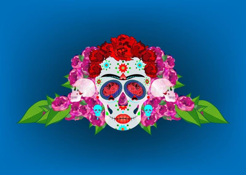 Cráneo mexicano, Calavera con las flores Decoración para el día de los muertos, Dia de los Muertos Fondo del cartel de Halloween, stock de ilustración