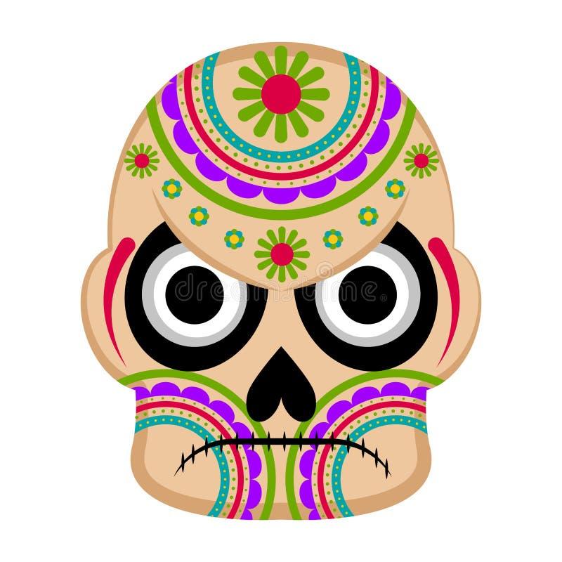 Cráneo mexicano coloreado enojado libre illustration