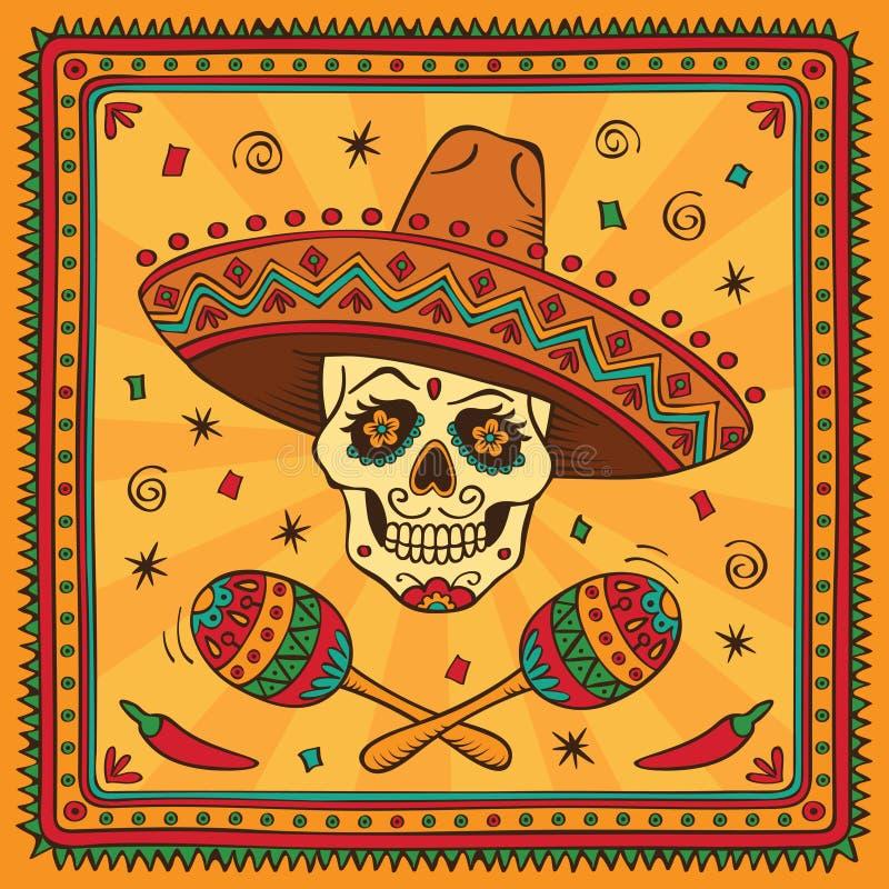 Cráneo mexicano del azúcar ilustración del vector