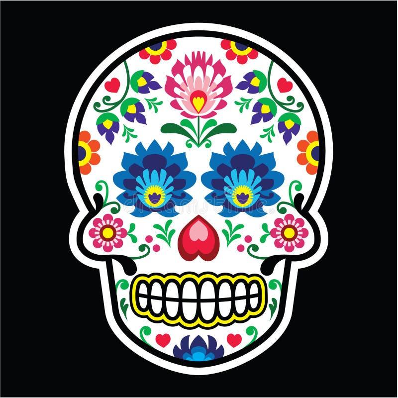 Cráneo mexicano del azúcar - estilo polaco del arte popular - Wzory Lowickie, Wycinanka ilustración del vector