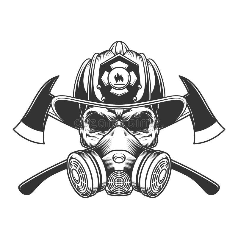 Cráneo monocromático del bombero del vintage stock de ilustración