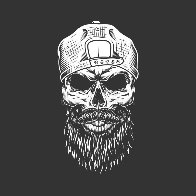 Cráneo monocromático del inconformista del vintage en casquillo stock de ilustración