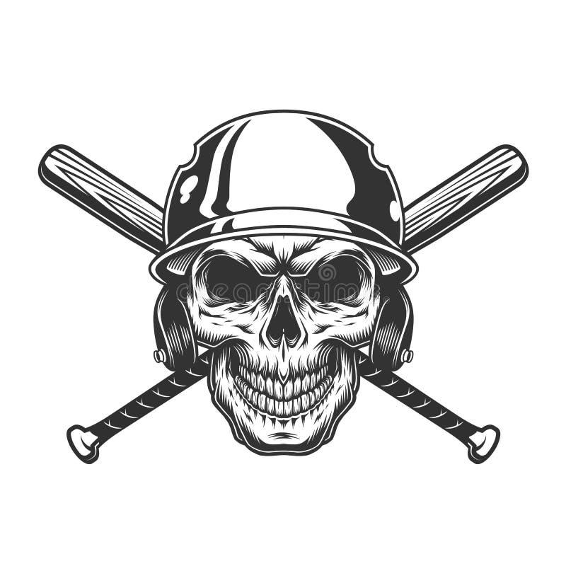 Cráneo monocromático del vintage en casco del béisbol ilustración del vector