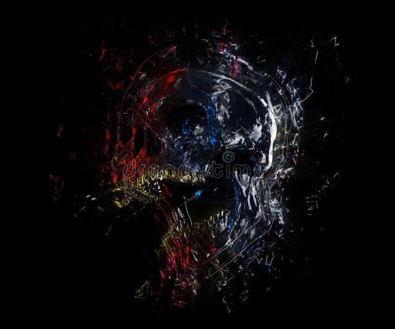 Cráneo negro de griterío con puntos culminantes coloridos libre illustration